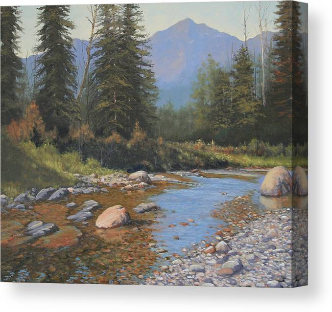 Landscape Canvas Print featuring the painting 080323-2420 Tranquility by Kenneth Shanika