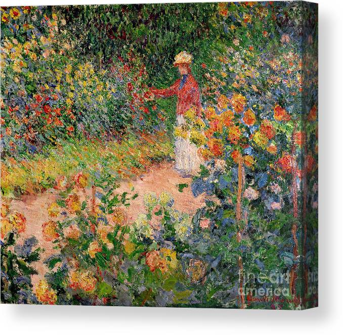 Garden Canvas Print featuring the painting Garden at Giverny by Claude Monet