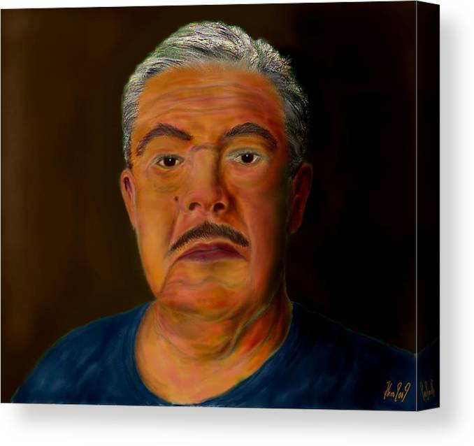 Selfportrait Canvas Print featuring the painting Selfportrait by Helmut Rottler