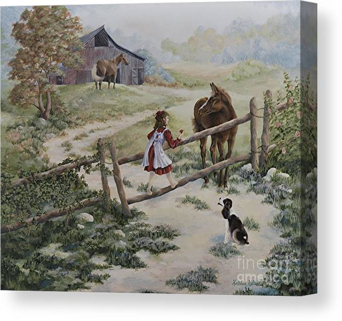 Farm Canvas Print featuring the painting At the Farm by Kathleen Keller