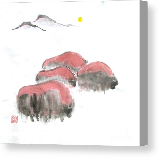 A Herd Of Bison .  Canvas Print featuring the painting Bisons In Snow I by Mui-Joo Wee