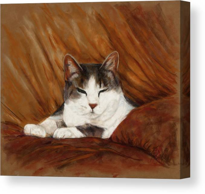 Cat Canvas Print featuring the painting Cat Nap by Billie Colson