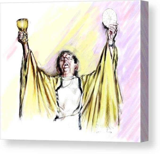 Priest Canvas Print featuring the painting Consecration by Robert Sako