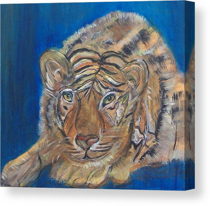 Tiger Canvas Print featuring the painting Contented Tiger by Mikki Alhart