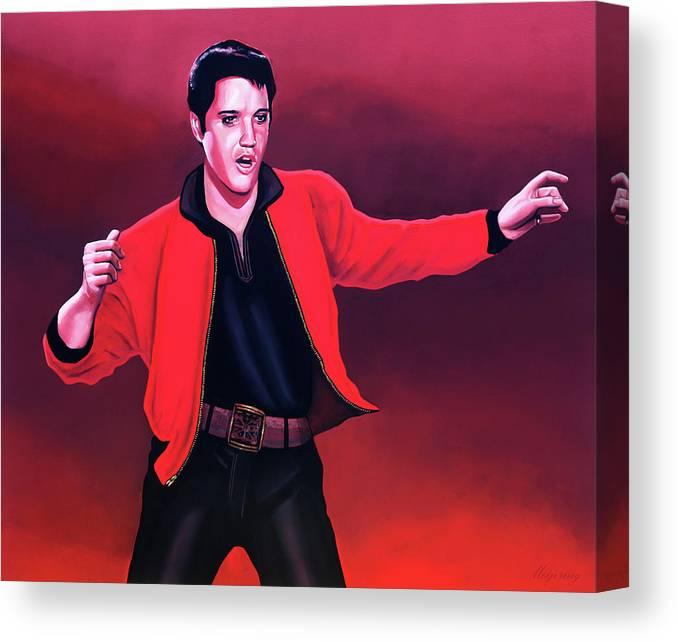 Elvis Canvas Print featuring the painting Elvis Presley 4 Painting by Paul Meijering