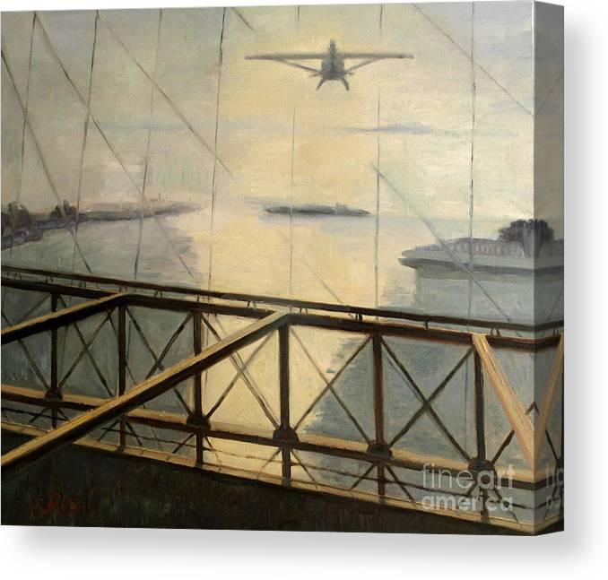 Darius Canvas Print featuring the painting Flight by Raimonda Jatkeviciute-Kasparaviciene
