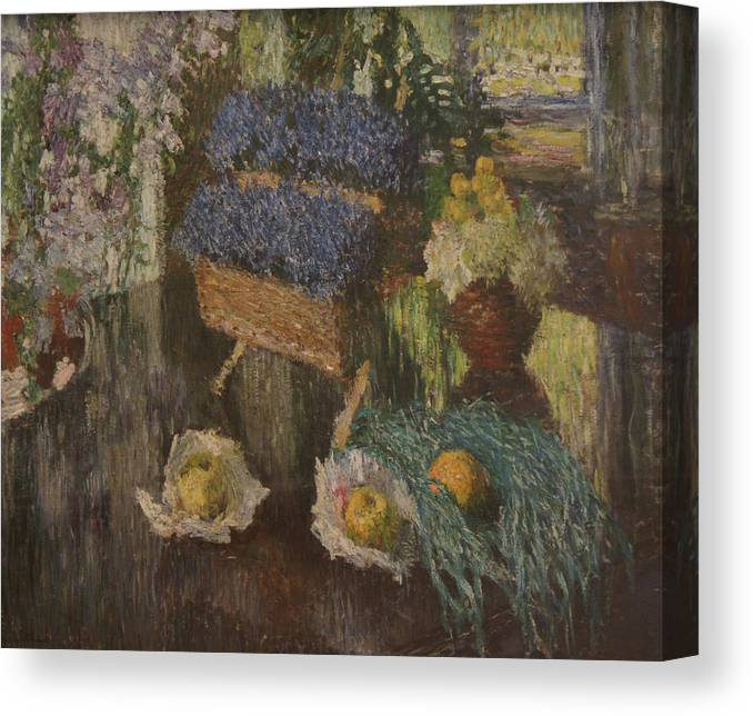 Russian Impressionism Canvas Print featuring the painting Flowers and Fruits by Igor Grabar