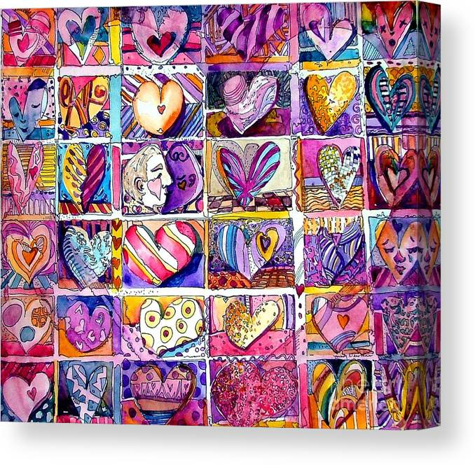 Love Canvas Print featuring the painting Heart 2 Heart by Mindy Newman