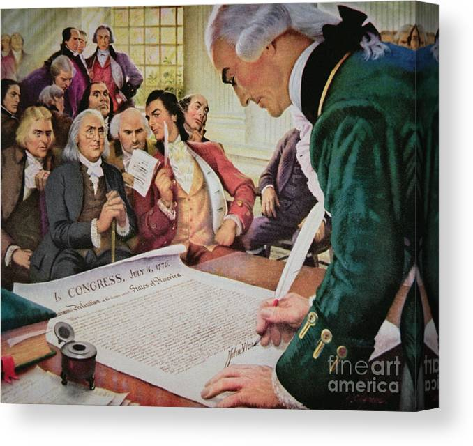 SIGNERS OF THE DECLARATION OF INDEPENDENCE ART POSTER PRINT ON REAL CANVAS