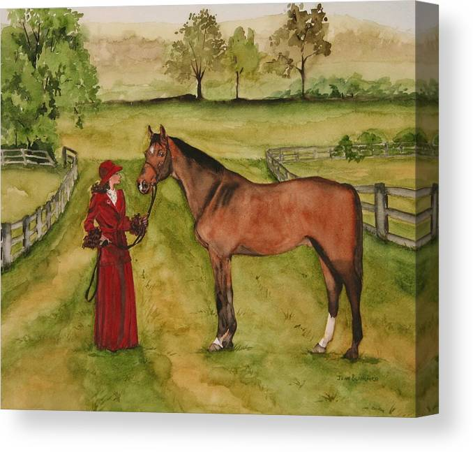 Horse Canvas Print featuring the painting Lady and Horse by Jean Blackmer