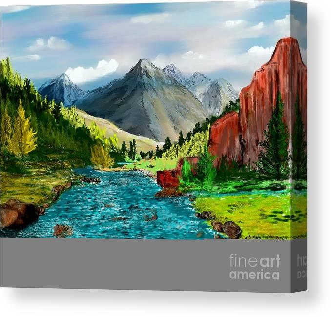 Digital Photograph Canvas Print featuring the digital art Mountaian Scene by David Lane