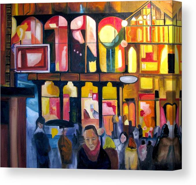 Night Scenes Canvas Print featuring the painting Night Walk 2009 by Patricia Arroyo