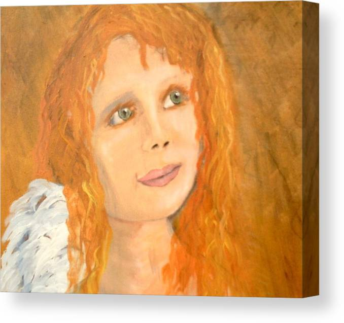 Angels Canvas Print featuring the painting Red wishes by J Bauer