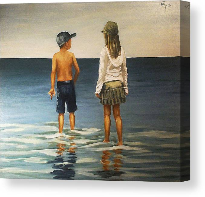 Seascape Kid Child Girl Boy Reflection Water Sea Ocean Beach Canvas Print featuring the painting Sister And Brother by Natalia Tejera