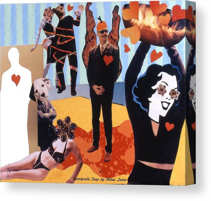 Hearts Canvas Print featuring the drawing Soap Scene #18 Burn in Heaven at the Club Relish by Minaz Jantz