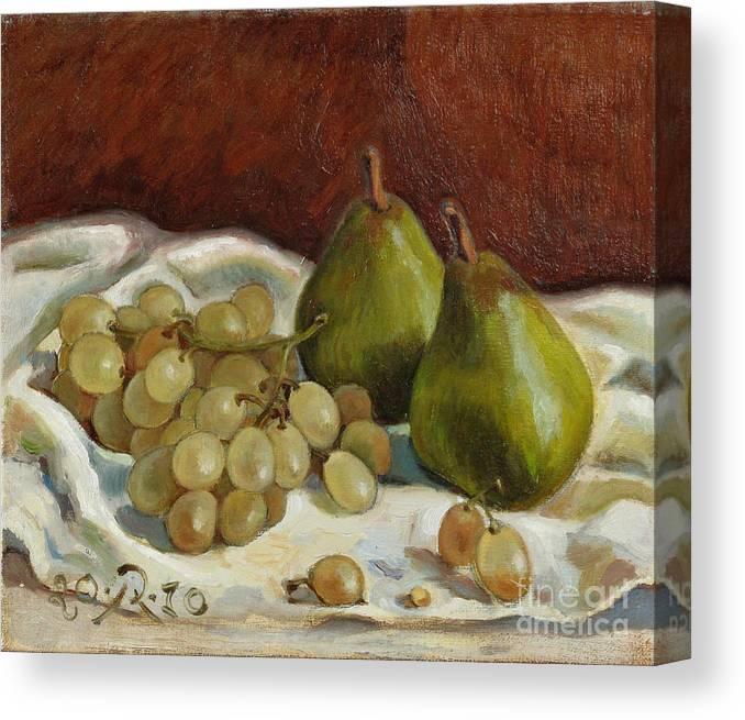 Still Life Canvas Print featuring the painting Still Life with French Grapes by Raimonda Jatkeviciute-Kasparaviciene