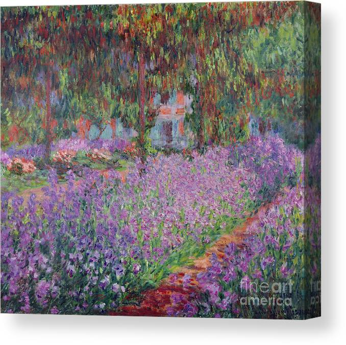 The Canvas Print featuring the painting The Artists Garden at Giverny by Claude Monet