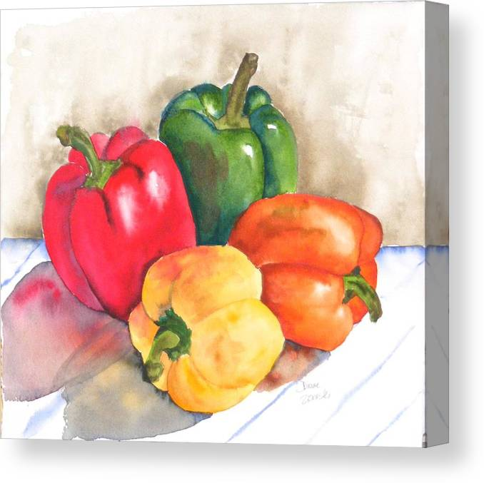 Food Canvas Print featuring the painting Two Peppers by Diane Ziemski