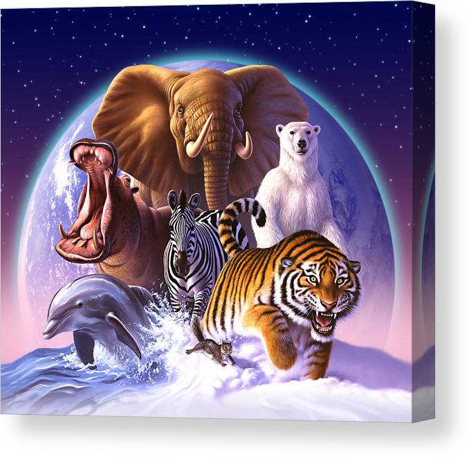 Mammals Canvas Print featuring the painting Wild World by Jerry LoFaro
