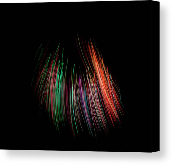 Black Background Canvas Print featuring the photograph Multi Colored Fiber Optic On Black by Michael Duva