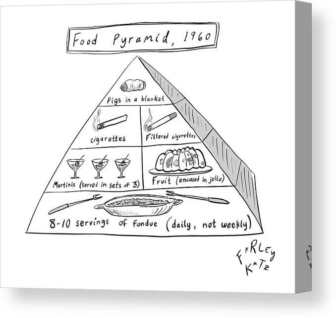 Food Pyramid Canvas Print featuring the drawing 1960s Food Pyramid by Farley Katz