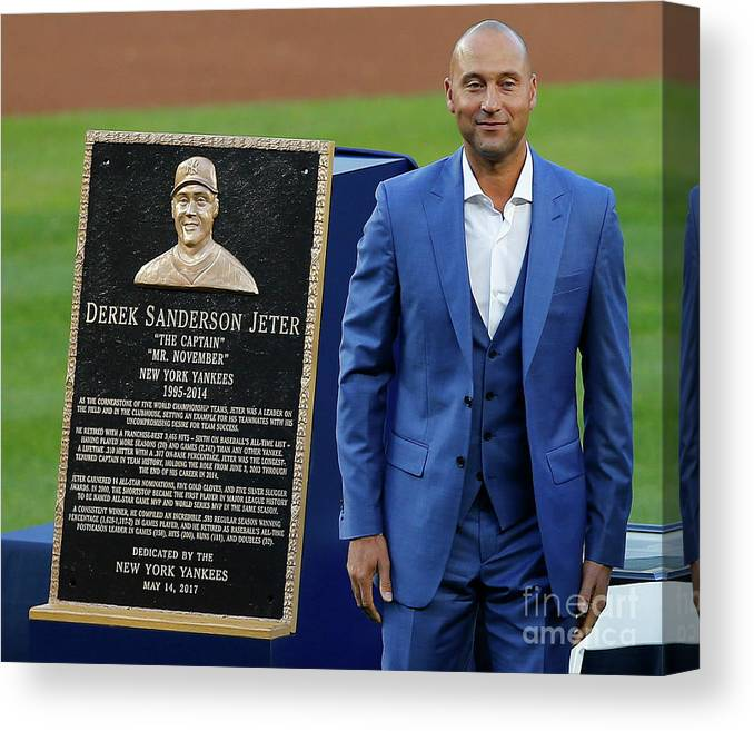Three Quarter Length Canvas Print featuring the photograph Derek Jeter Ceremony by Rich Schultz
