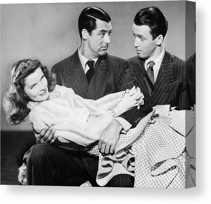 Jimmy Stewart Canvas Print featuring the photograph Cary Grant, James Stewart by Bettmann