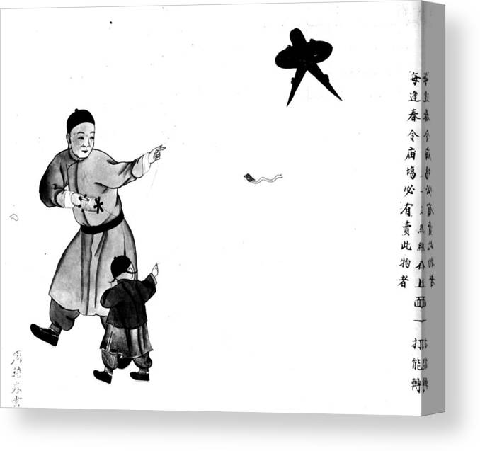 Rectangle Canvas Print featuring the digital art Chinese Kite by Hulton Archive