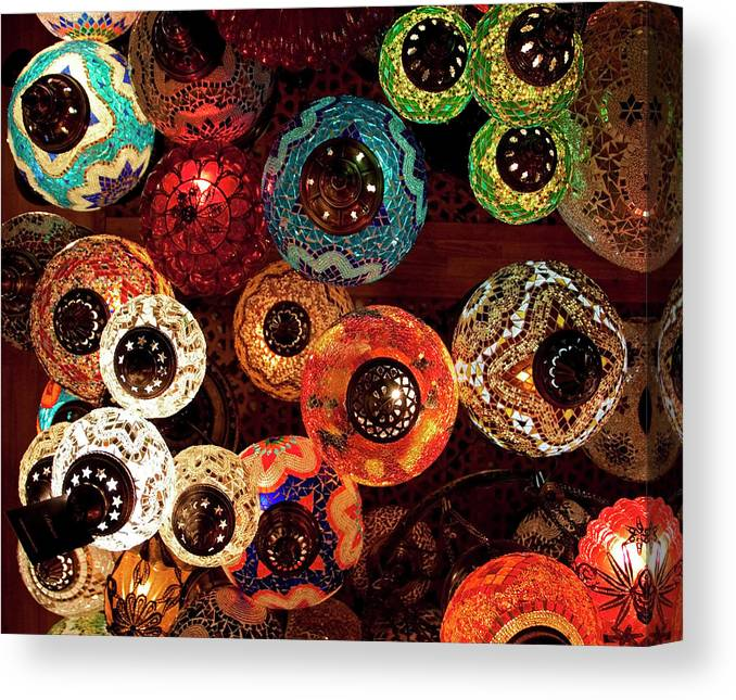 Antique Shop Canvas Print featuring the photograph Colorful Turkish Lanterns From The by Wldavies