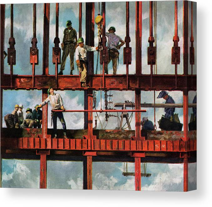 Working Canvas Print featuring the photograph Construction Workers On Site by Graphicaartis