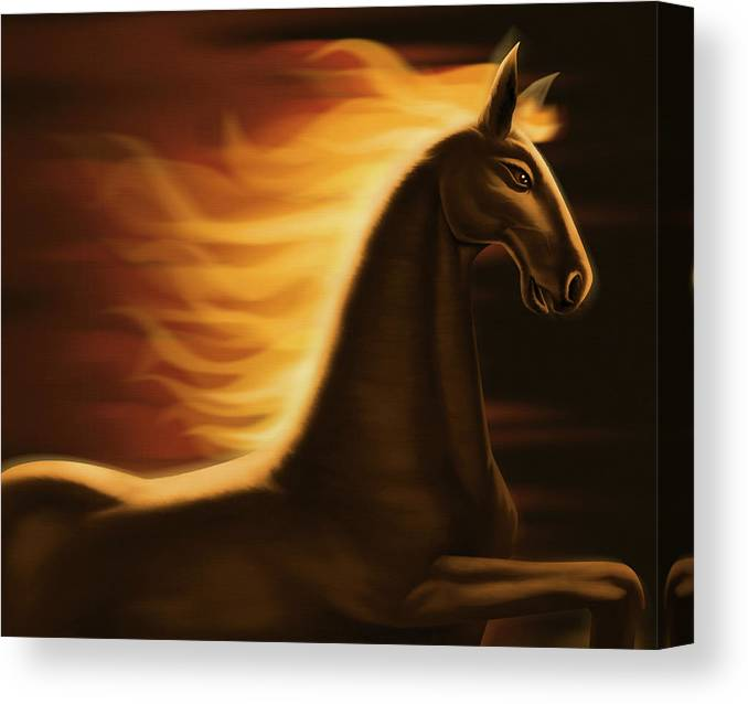 Horse Canvas Print featuring the digital art Flaming Horse by Id-work