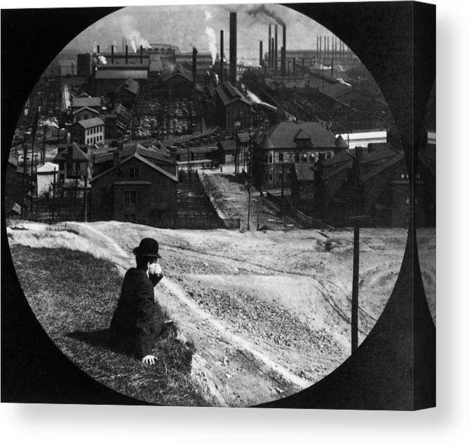 Working Canvas Print featuring the photograph Homestead Steel Works by Hulton Archive