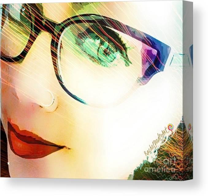 Girl Canvas Print featuring the mixed media La va rache by Rachel Maynard