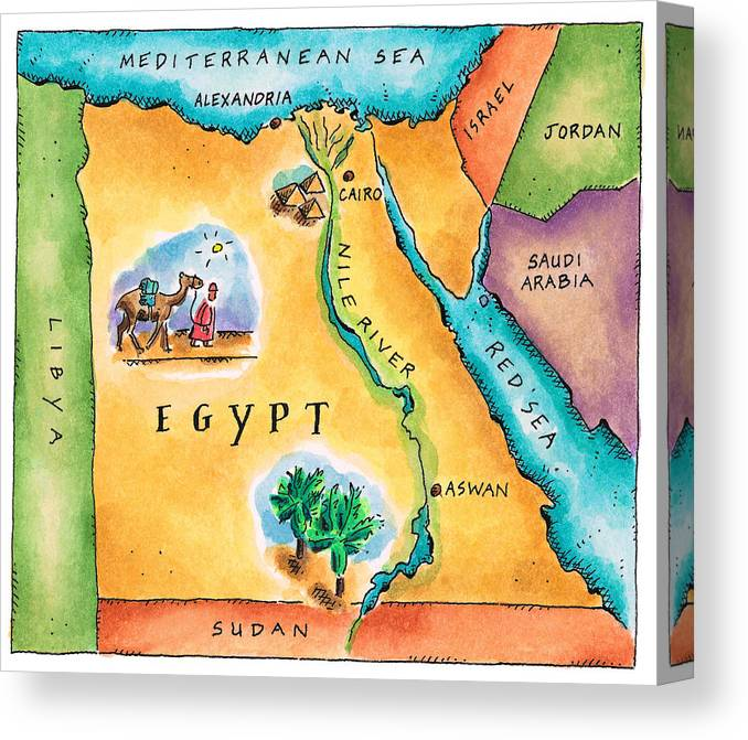 Watercolor Painting Canvas Print featuring the digital art Map Of Egypt by Jennifer Thermes