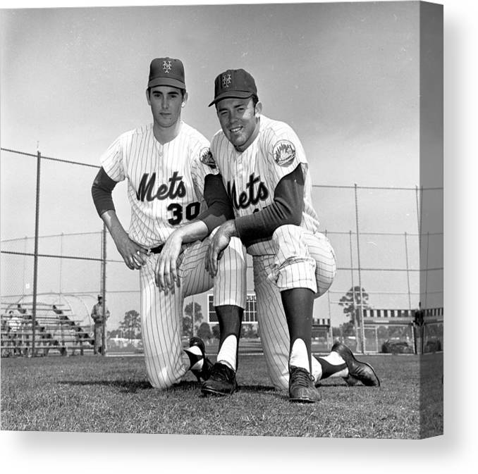 American League Baseball Canvas Print featuring the photograph New York Mets Texas Battery Nolan Ryan by New York Daily News Archive