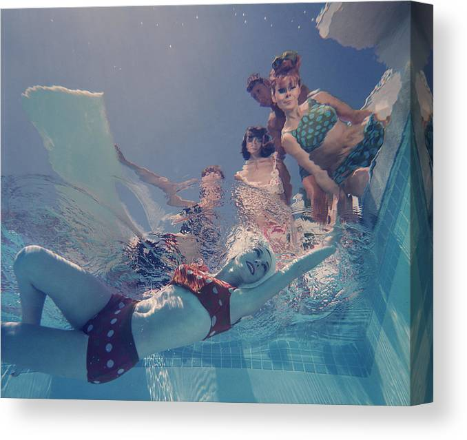 Underwater Canvas Print featuring the photograph Palm Springs Fashion, No. 8 by Lawrence Schiller