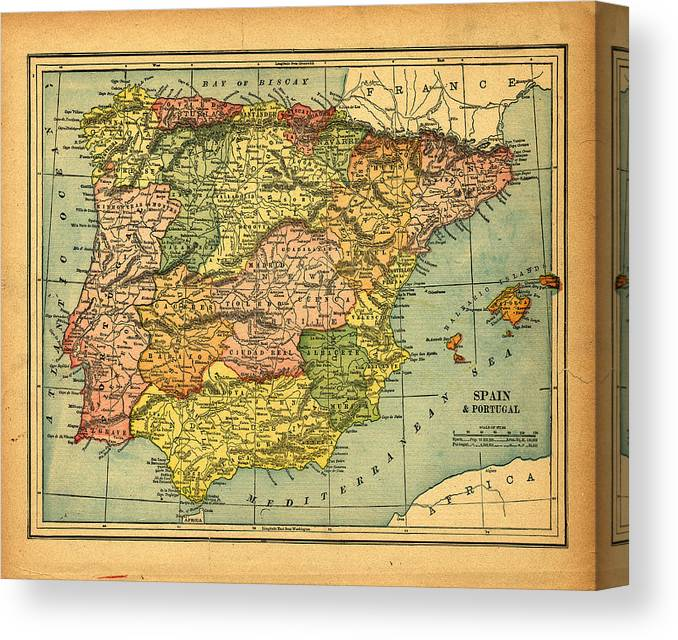 Weathered Canvas Print featuring the photograph Spain & Portugal Vintage Map by Belterz