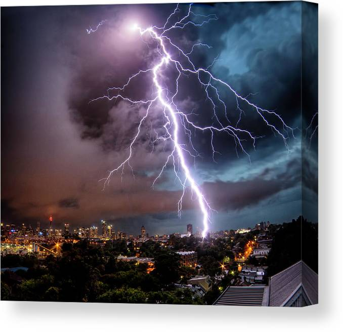 Tranquility Canvas Print featuring the photograph Sydney Summer Lightning Strike by Australian Land, City, People Scape Photographer