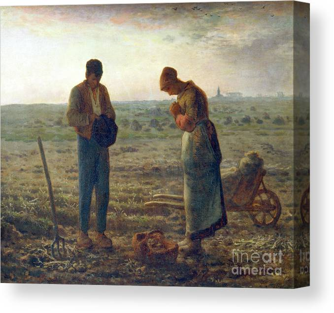 Farm Worker Canvas Print featuring the drawing The Angelus, 1857-1859. Artist Jean by Print Collector