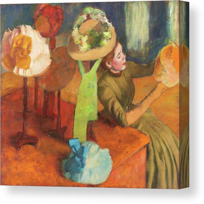 The Millinery Shop Canvas Print featuring the painting The Millinery Shop - Digital Remastered Edition by Edgar Degas