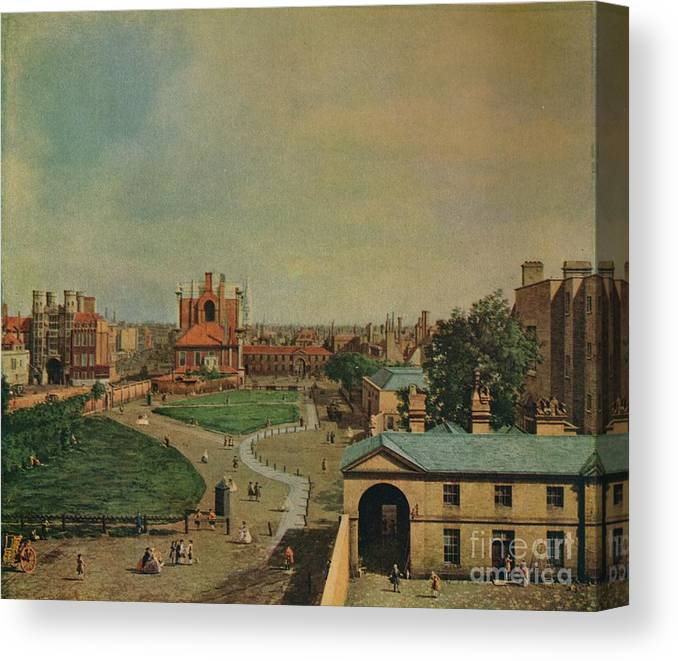 Oil Painting Canvas Print featuring the drawing Whitehall From Richmond House by Print Collector