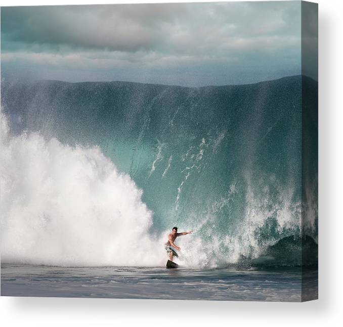 Human Arm Canvas Print featuring the photograph Young Man Surfing On Wave by Ed Freeman