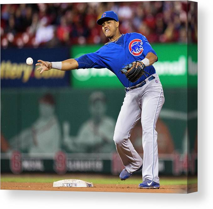 Double Play Canvas Print featuring the photograph Starlin Castro by David Welker