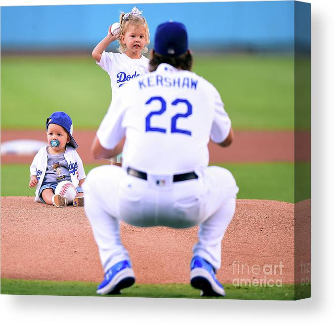Child Canvas Print featuring the photograph Clayton Kershaw by Harry How
