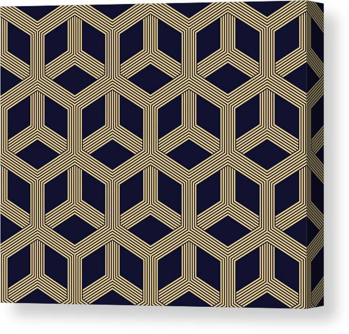 Black Color Canvas Print featuring the drawing Seamless Geometric Pattern by Lasagnaforone