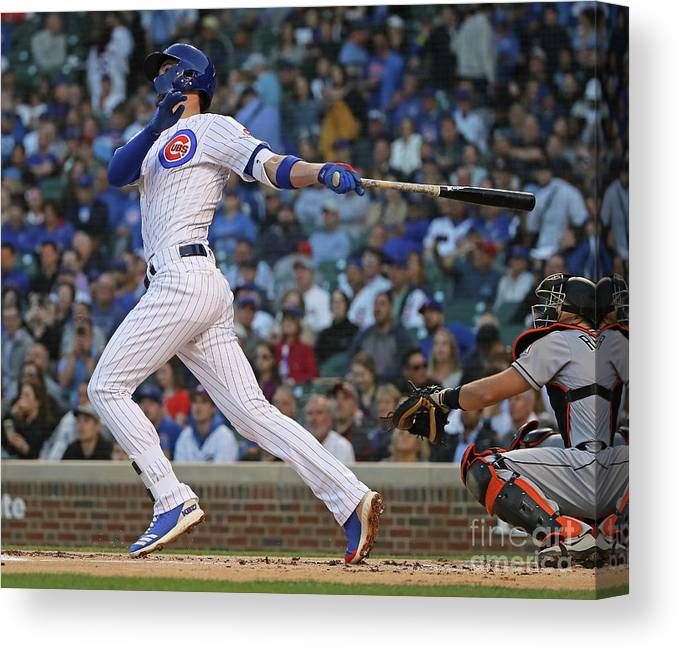 People Canvas Print featuring the photograph Kris Bryant by Jonathan Daniel