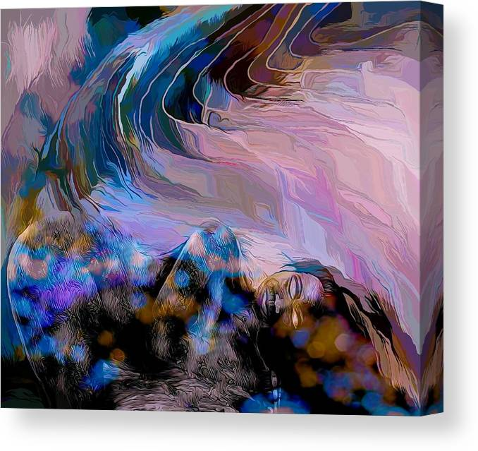 Modern Abstract Art Canvas Print featuring the mixed media Abstract Island Girl Slumbering On The Beach by Joan Stratton