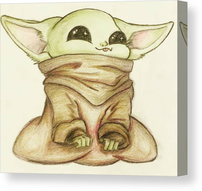 Baby Canvas Print featuring the drawing Baby Yoda by Tejay Nichols