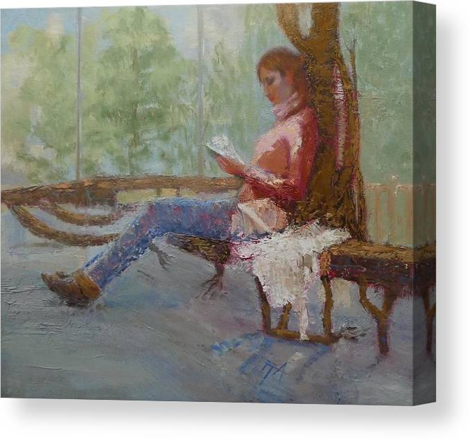 Girl Canvas Print featuring the painting Break at Museum II by Irena Jablonski