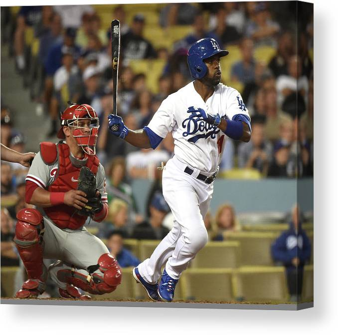 People Canvas Print featuring the photograph Carlos Ruiz and Jimmy Rollins by Harry How
